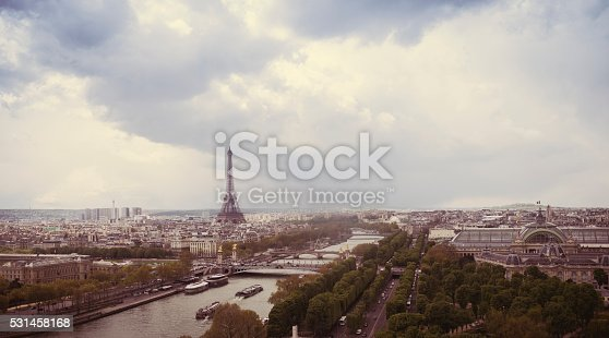 Panoramic view of Paris in the evening