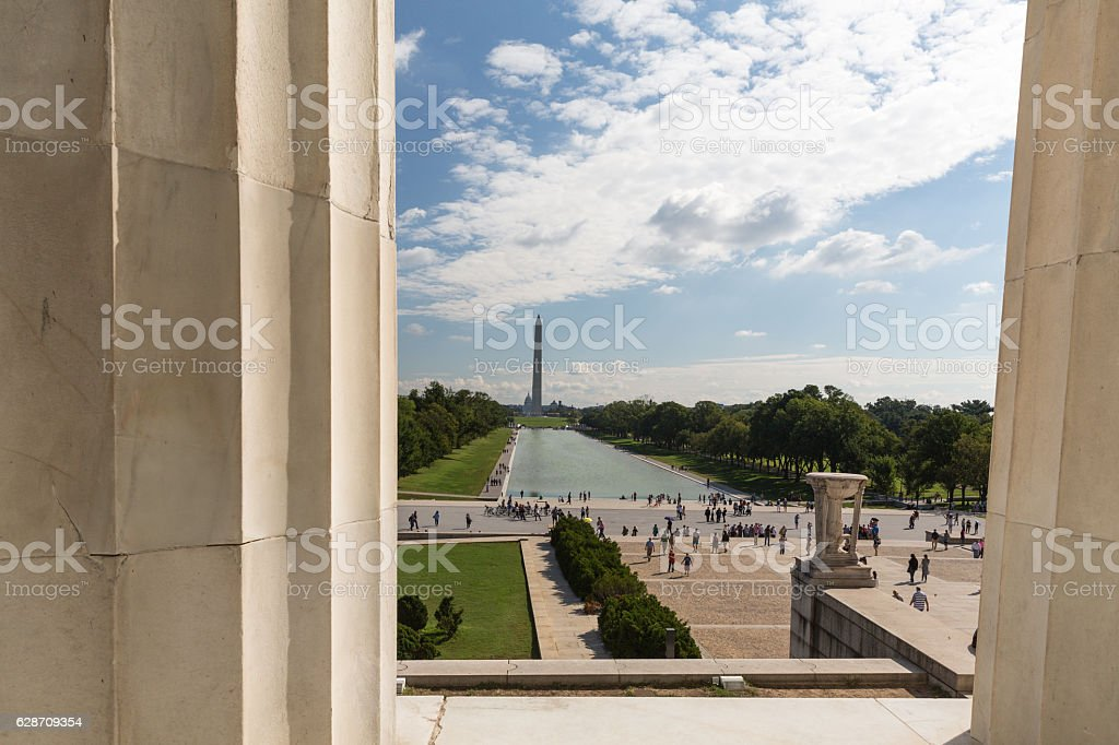 The view through the columns of the Lincoln Memorial stock photo