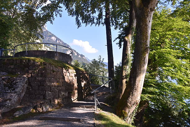 The viewing Tower of Brunnen, Switzerland stock photo