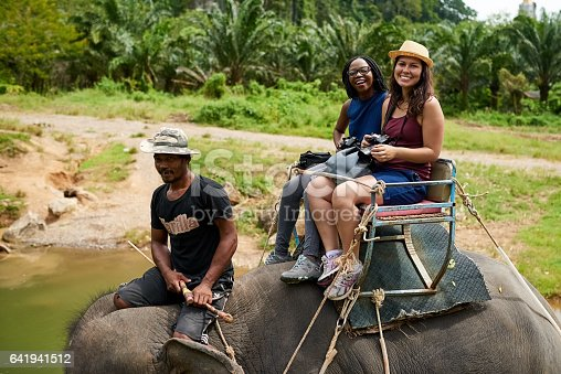 Portrait of young tourists on an elephant ride through a tropical rainforest
