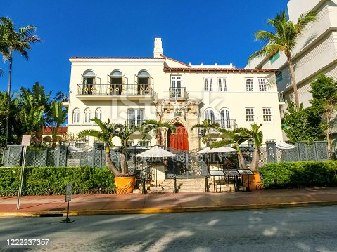 Miami, United States of America - November 30, 2019: The Villa, Casa Casuarina is a property previously owned by Italian fashion impresario Gianni Versace at Ocean Drive in the Miami Beach Architectural District, Florida on November 30, 2019.
