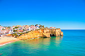 The village Carvoeiro in Algarve Portugal