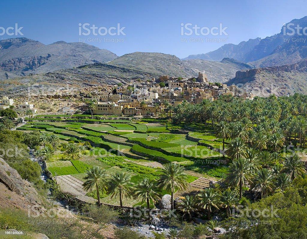 The village in sultanate Oman stock photo