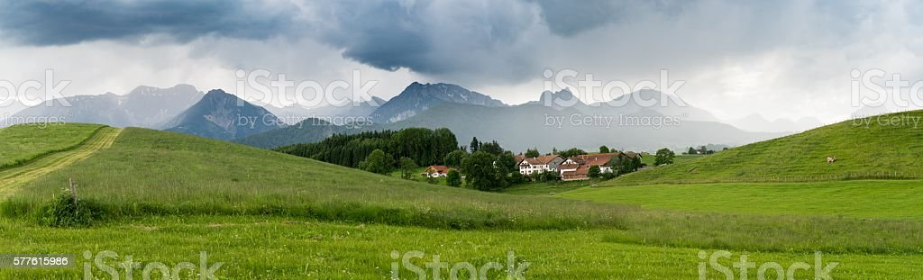 The village in the Alpine valleys stock photo