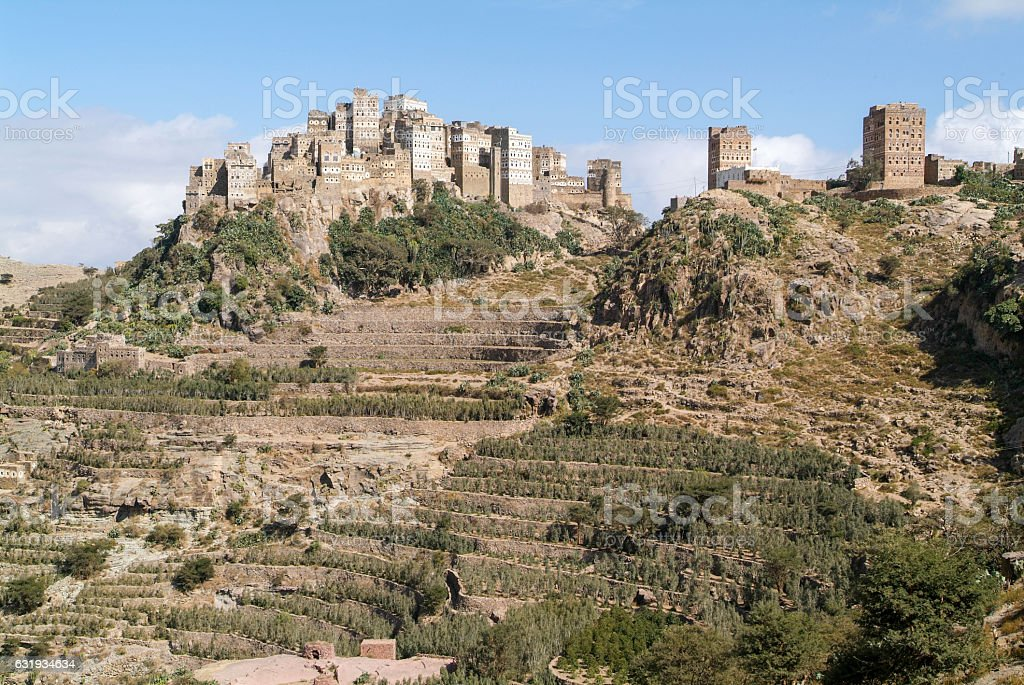 The village of Al Hajjarah on Haraz mountains stock photo