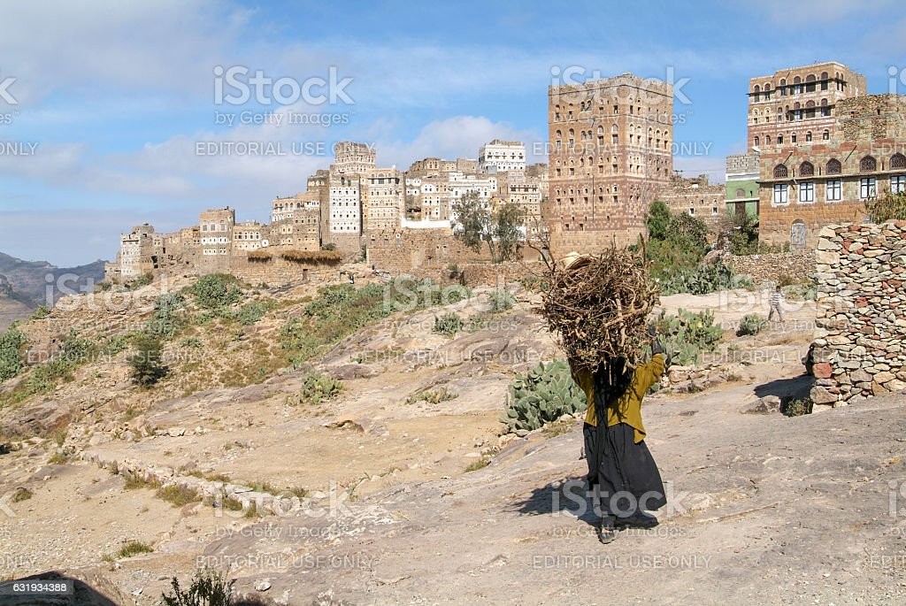 The village of Al Hajjarah on Haraz mountains, Yemen stock photo