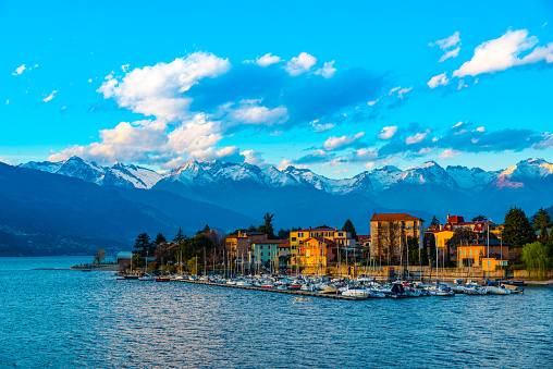 The town of Bellano, on Lake Como, on a winter day.