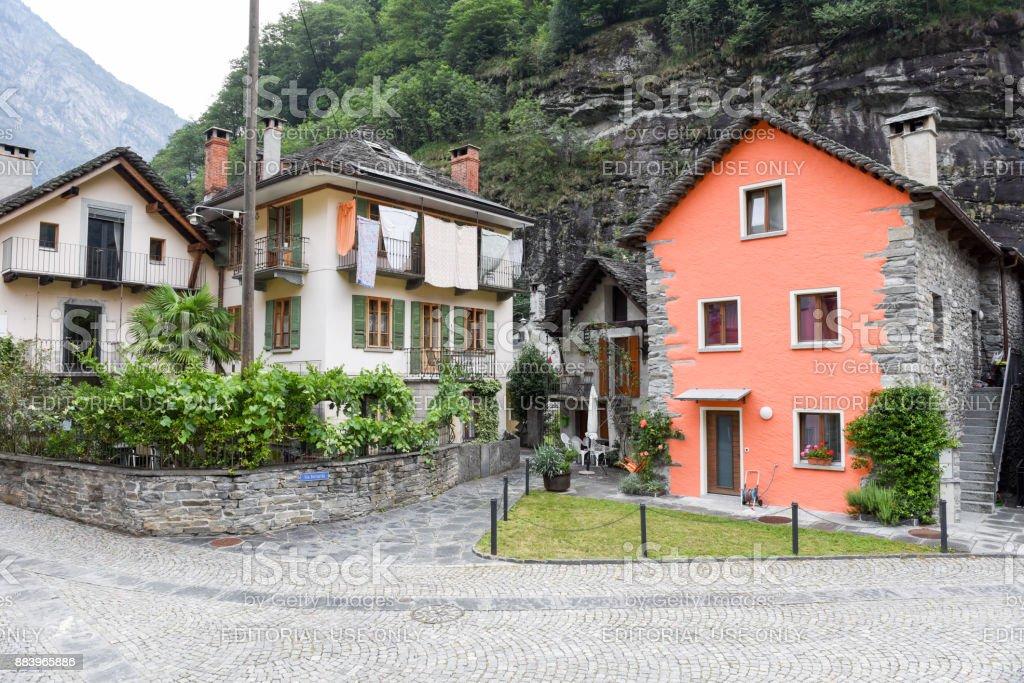 The village of Bignasco on Magga valley stock photo