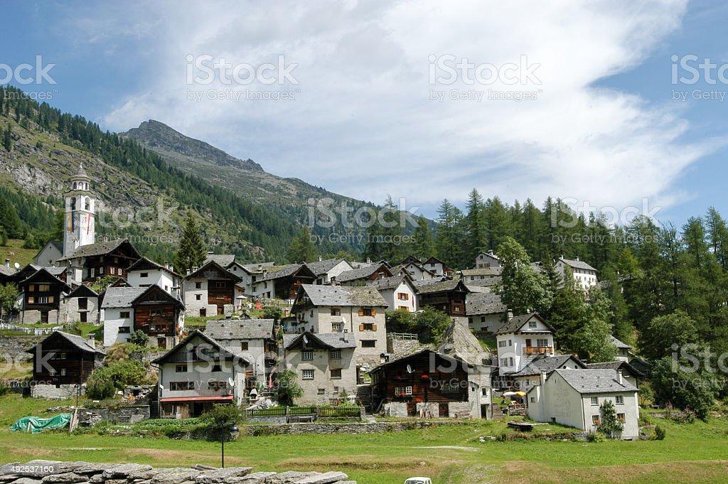 The village of Bosco Gurin stock photo