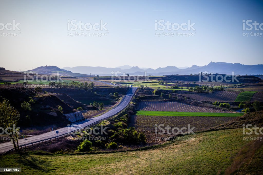 The village of Briones and fields. La Rioja, Spain royalty-free stock photo