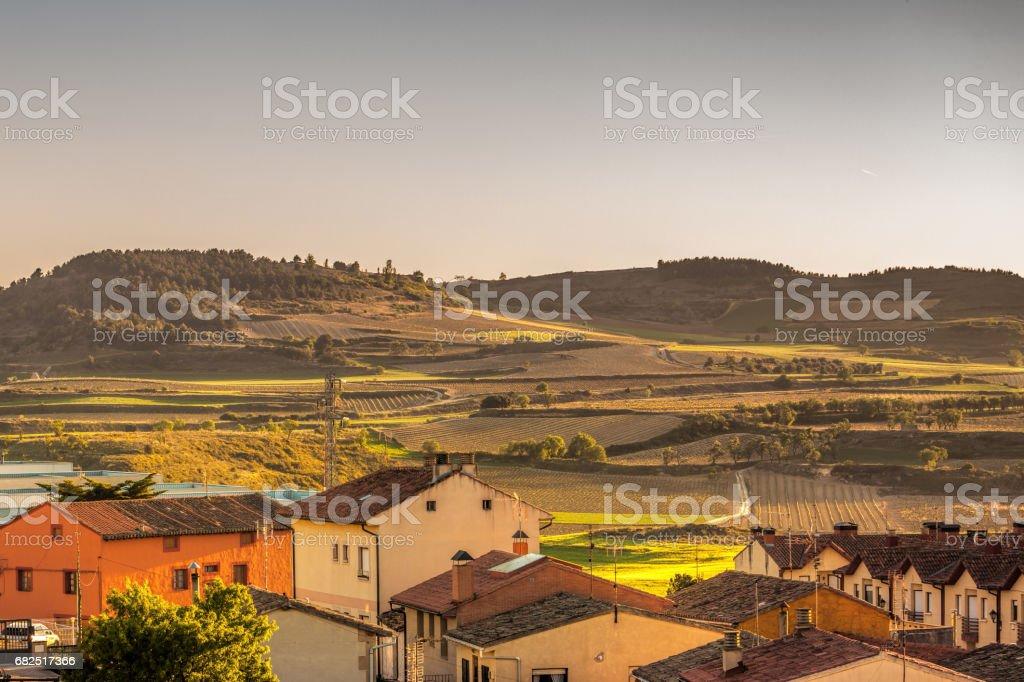 Das Dorf Briones und Felder. La Rioja, Spanien Lizenzfreies stock-foto