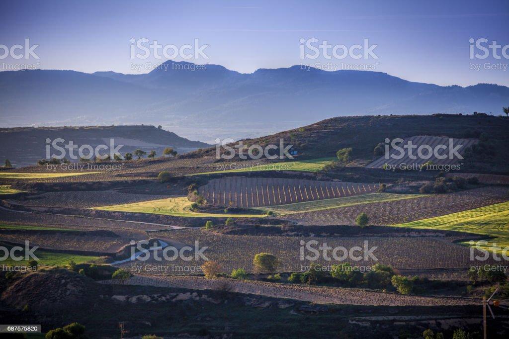 The village of Briones and fields. La Rioja, Spain stock photo