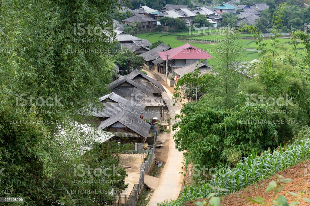 The village of ethnic minority people at Mu Cang Chai, Yen Bai. Yen Bai is a northernmost province in Vietnam stock photo