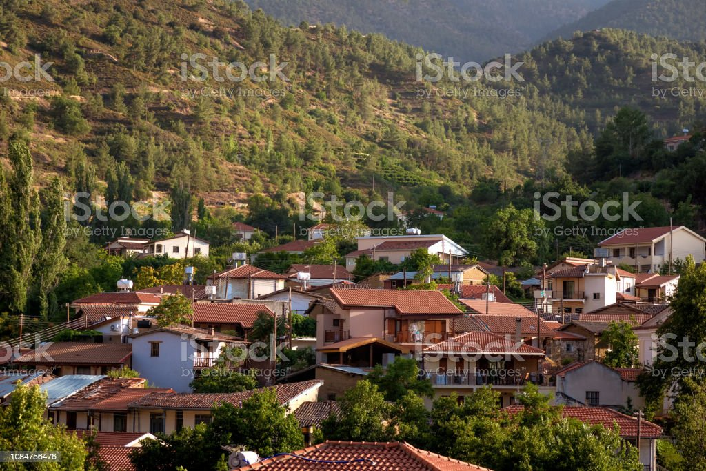 The village of Galata on the north side of the Troodos mountain range. Nicosia District, Cyprus stock photo