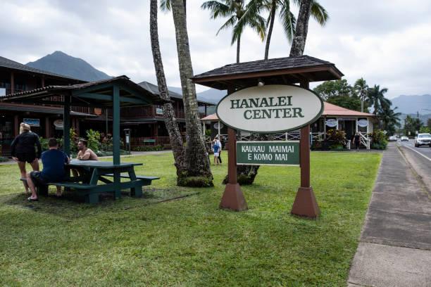 The Village of Hanalei stock photo