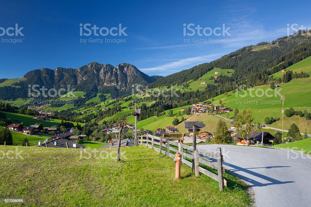 the Village of Inneralpbach in Alpbach Valley,Austria stock photo