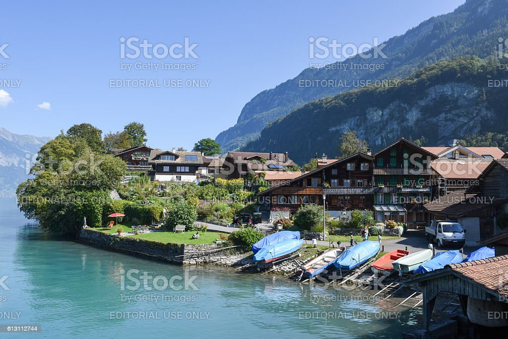 The village of Iseltwald on lake Brienz, Switzerland stock photo