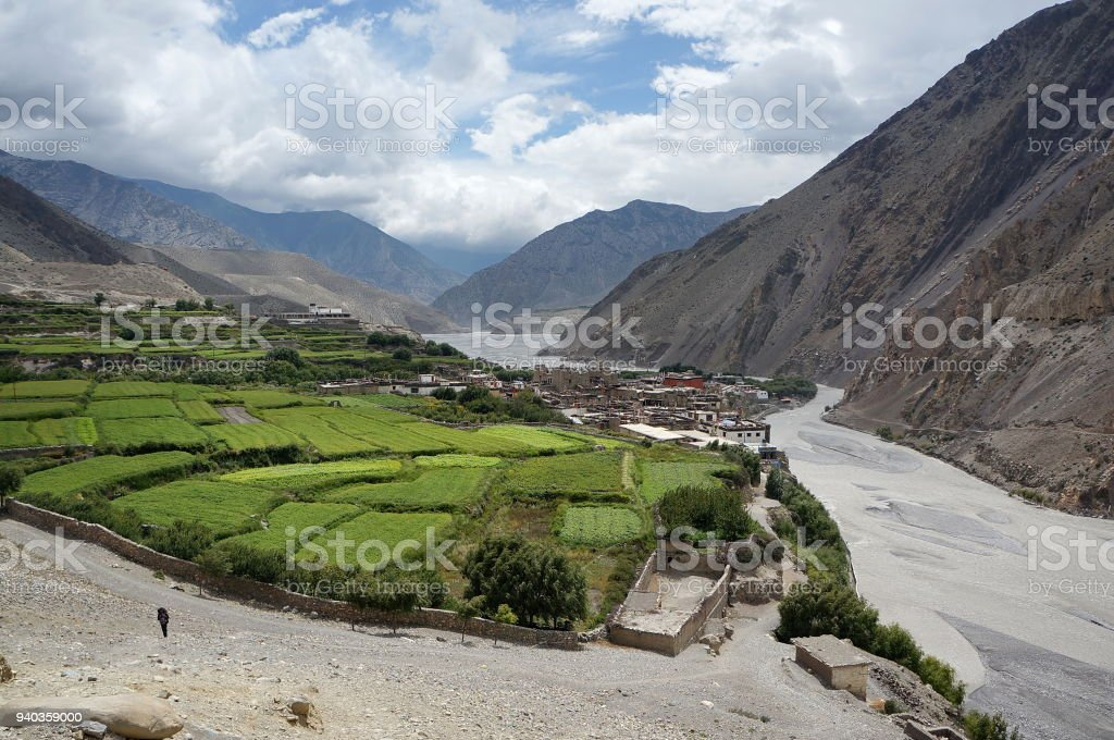The village of Kagbeni and the Kali Gandaki river in the valley of the Himalayan mountains. stock photo