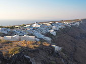 Thirassia, Santorini islands, Cyclades islands, Greece. The island of Ios at the background