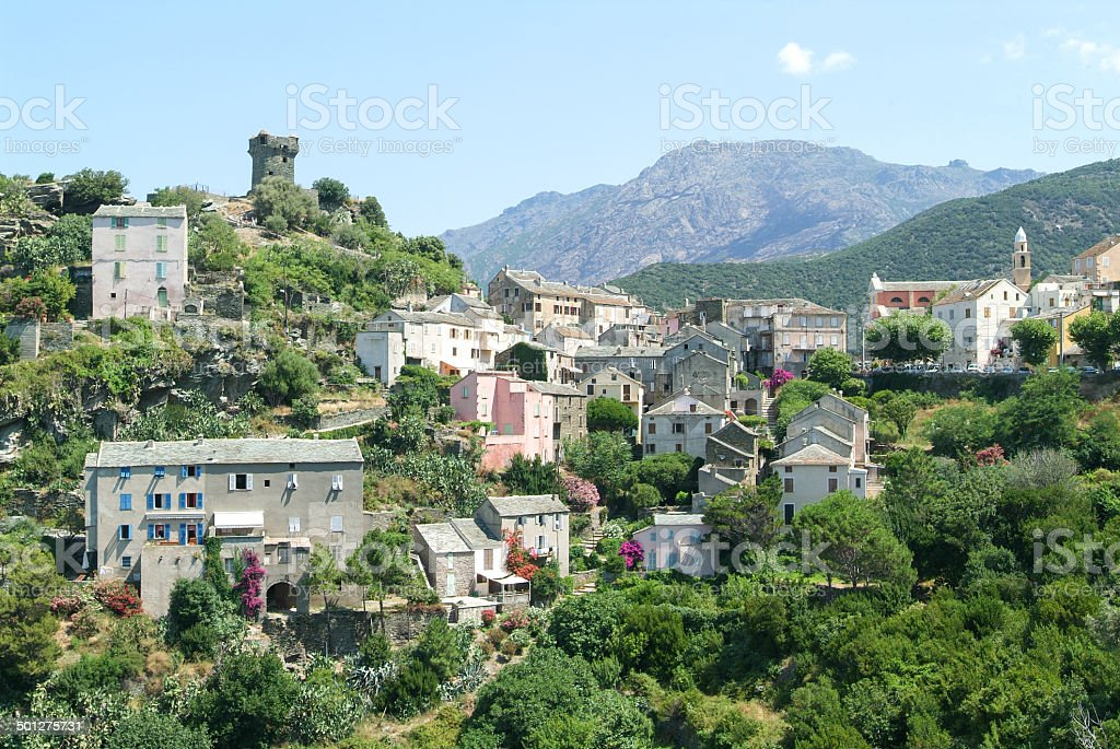 The village of Nonza on Corsica island stock photo