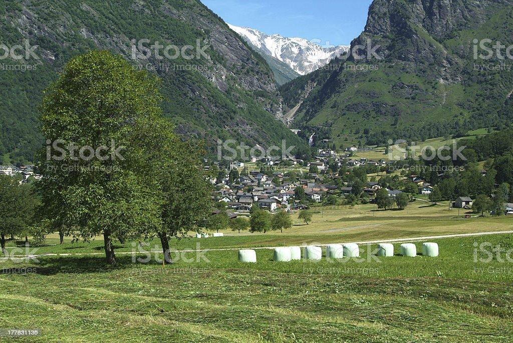 the village of Olivone on Blenio Valley royalty-free stock photo