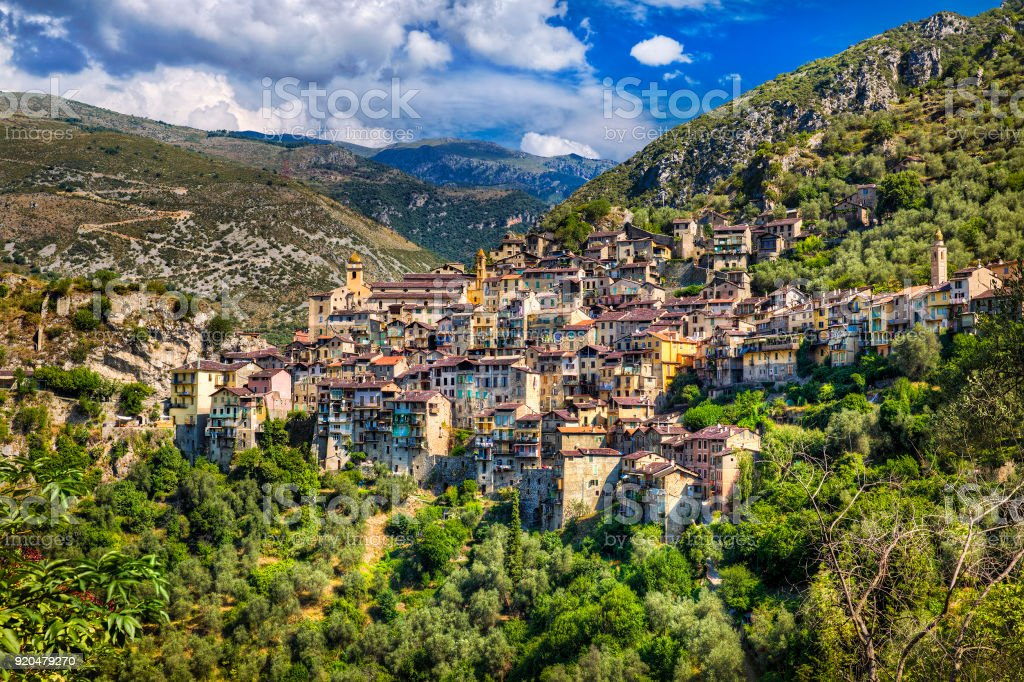 The Village of Saorge, Alpes-Maritimes, Provence, France stock photo