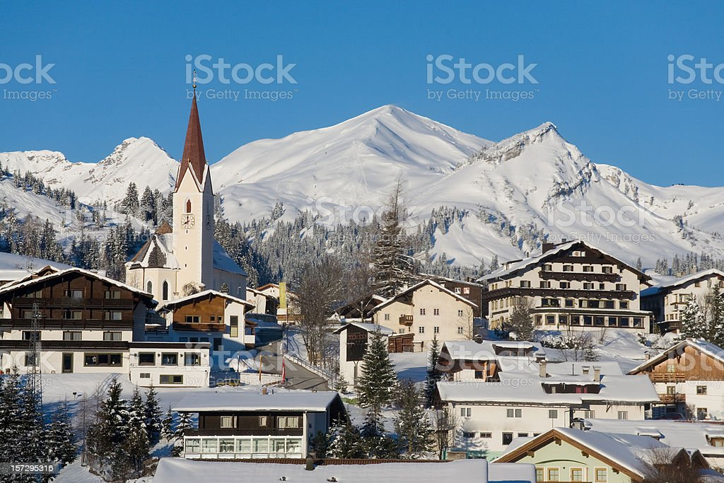 the villge berwang stock photo