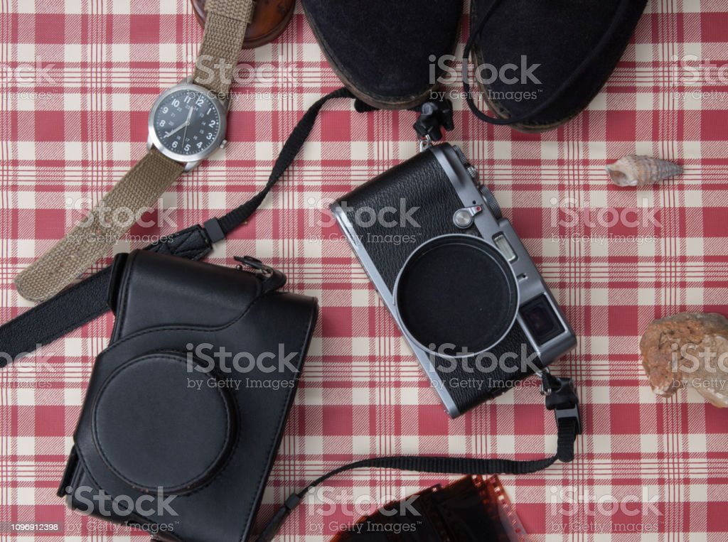 The Vintage camera on vintage red and white background stock photo