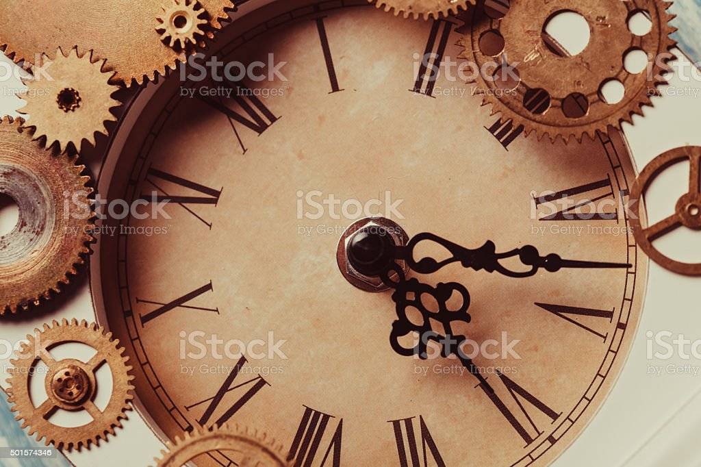 The vintage clock stock photo