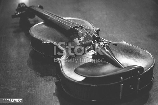 istock The Violin close-up in black and white picture 1127837527
