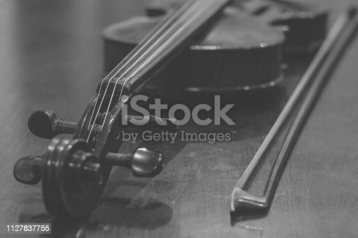 istock The Violin close-up in black and white picture 1127837755