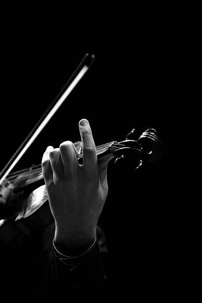 the violin in the hands of a musician closeup - motivationsmusik stock-fotos und bilder
