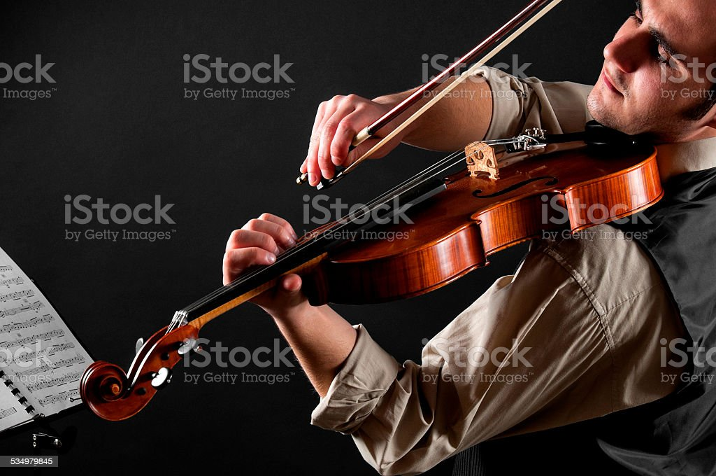 The violinist and his violin stock photo
