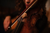 violin, vintage, close-up, playing, music,