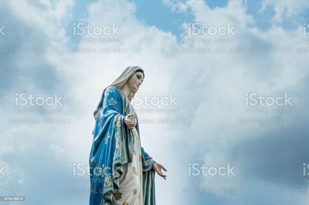 The Virgin Mary statue at The Cathedral of the Immaculate Conception stock photo