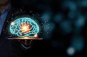 istock The virtual brain on tablet. Creative new business idea concept. 1226588024