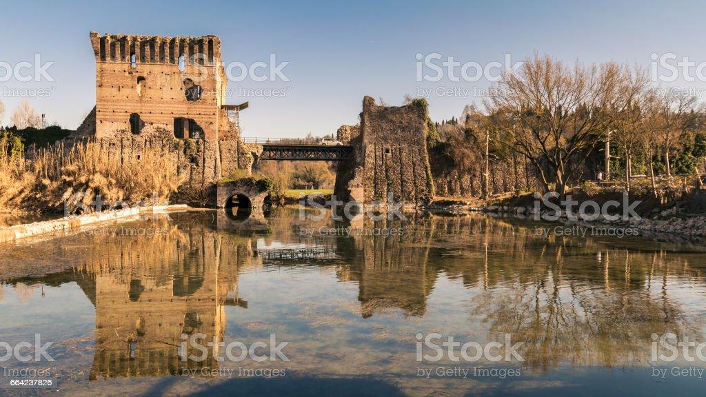 The Visconti Bridge in Valeggio sul Mincio, Italy. stock photo
