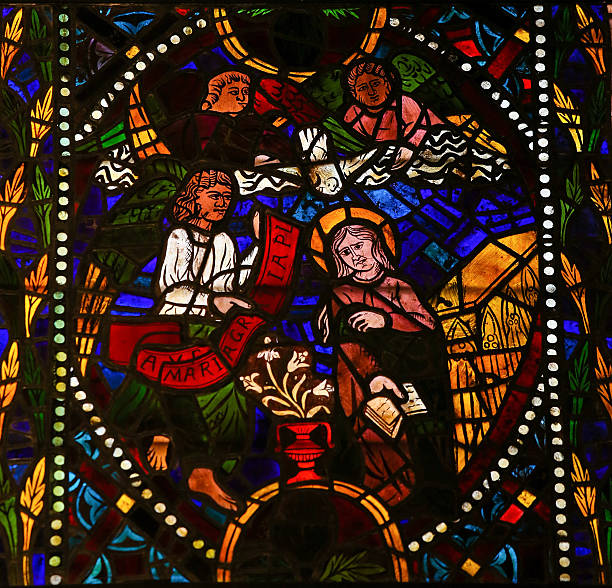 The Visitation - Stained Glass in Leon Cathedral - foto de acervo
