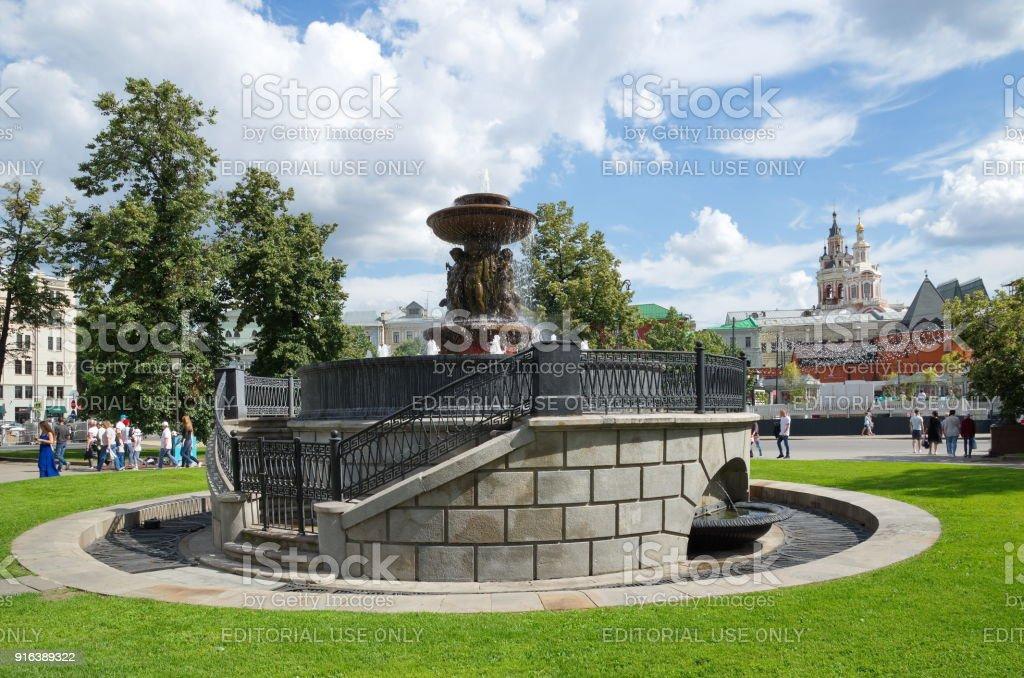 The Vitali fountain on the Theatre square in Moscow, Russia stock photo