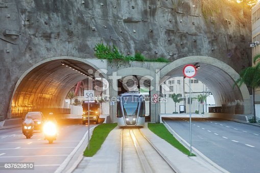 The VLT - Light Rail System, the modern streetcar, crosses the Tunnel Architect Nina Rabha