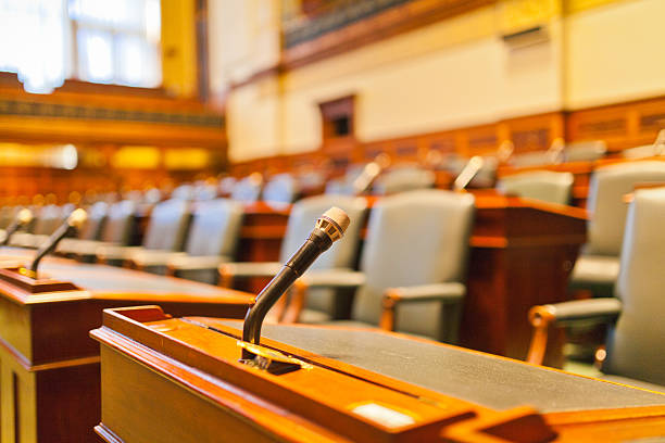 the VOICE, the microphone in a court room shoot in the Parliament Building of Ontario, Toronto courtroom stock pictures, royalty-free photos & images