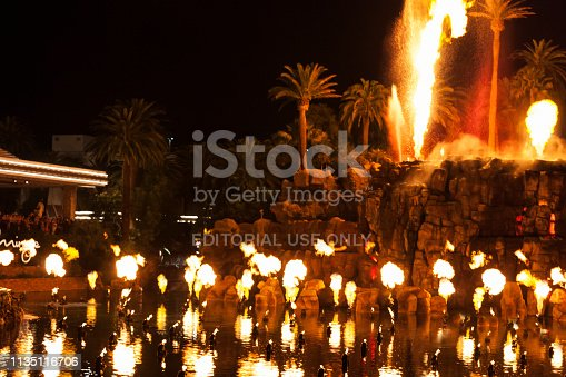 Las Vegas, USA - July 05, 2016:  The volcano attraction in front of The Mirage Hotel & Casino in Las Vegas, Nevada
