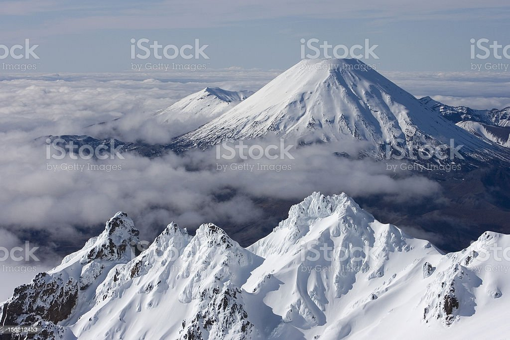 The Volcano of Mt Tongariro during winter in New Zea stock photo