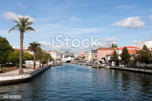 AVEIRO, PORTUGAL - Augustus 13, 2012: The Vouga river with traditional boats, Called Moliceiro, Aveiro, Portugal on March 21, 2017
