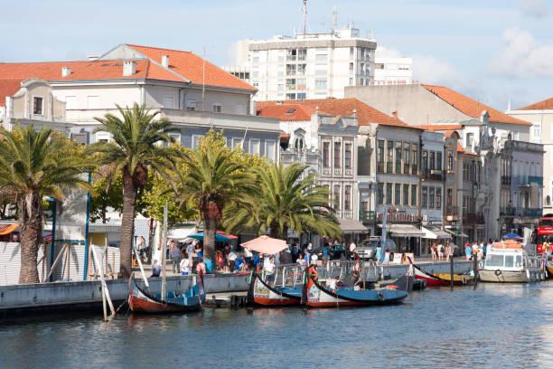 aveiro, portugal - the vouga river with traditio - aveiro imagens e fotografias de stock