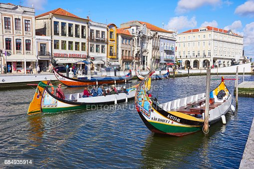 AVEIRO, PORTUGAL - MARCH 21, 2017: The Vouga river with traditional boats, Called Moliceiro, Aveiro, Portugal on March 21, 2017