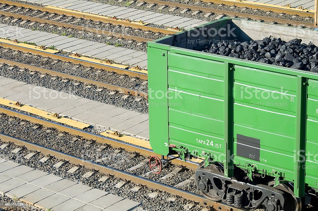 The wagon loaded with coal stock photo