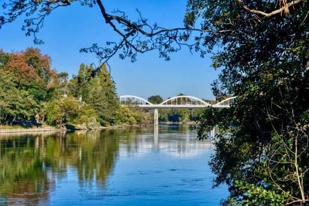 The Waikato River in Hamilton, New Zealand stock photo