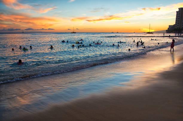 The Waikiki Beach at Sunset stock photo