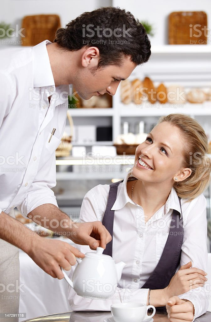 The waiter works royalty-free stock photo
